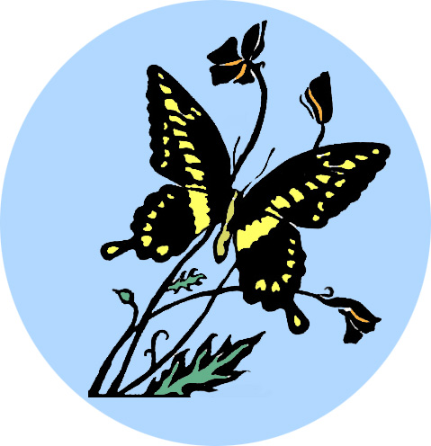 butterfly and CA poppies logo